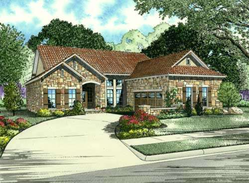 Tuscan Style Home Design Plan: 12-875