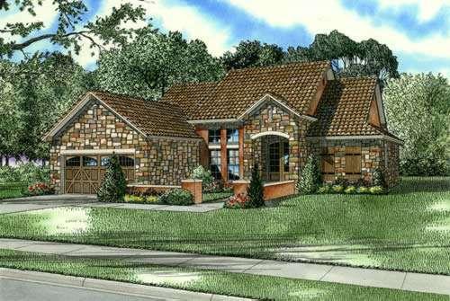 Tuscan Style Home Design Plan: 12-877
