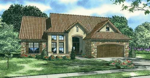 Tuscan Style Home Design Plan: 12-884