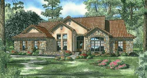 Tuscan Style Home Design Plan: 12-886