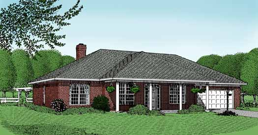 Southern Style Home Design Plan: 13-106