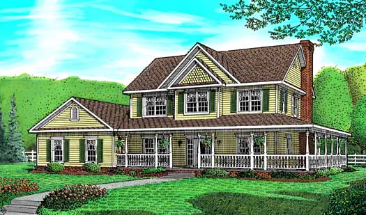 Country Style Home Design Plan: 13-121