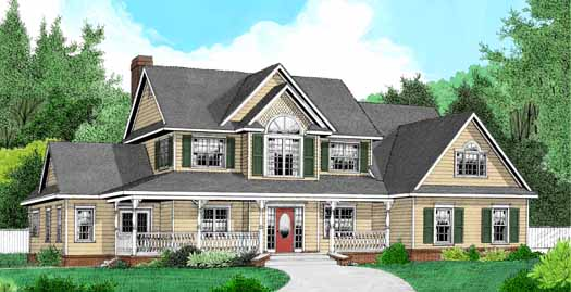 Country Style Home Design Plan: 13-134