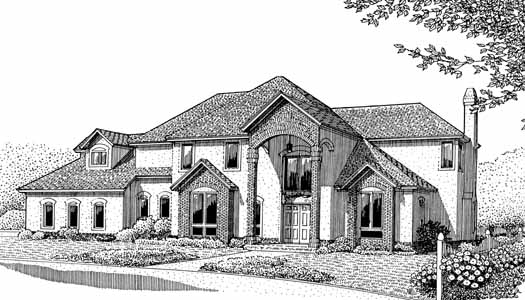 European Style Home Design Plan: 13-140