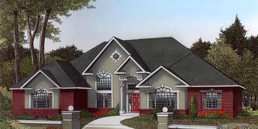 European Style Home Design Plan: 13-145