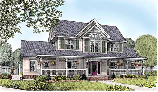 Country Style Home Design Plan: 13-156