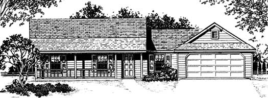 Country Style Home Design Plan: 14-105