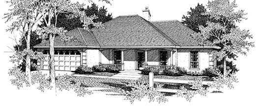 Southern Style Home Design Plan: 14-132