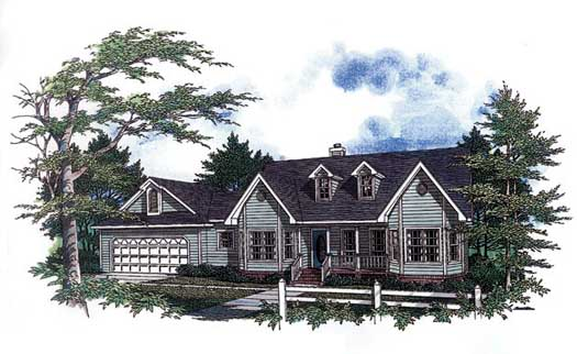 Southern Style Home Design Plan: 14-136