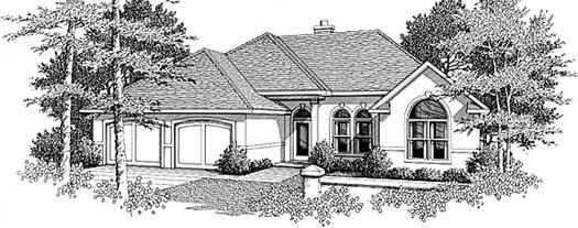 Mediterranean Style Home Design Plan: 14-140