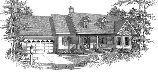 Country Style Home Design Plan: 14-153