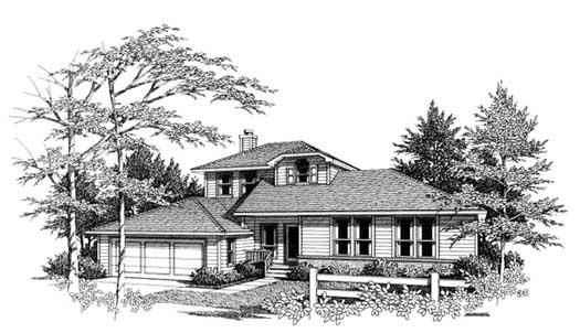 Contemporary Style Home Design Plan: 14-159