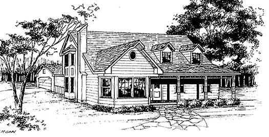 Country Style Home Design Plan: 14-166