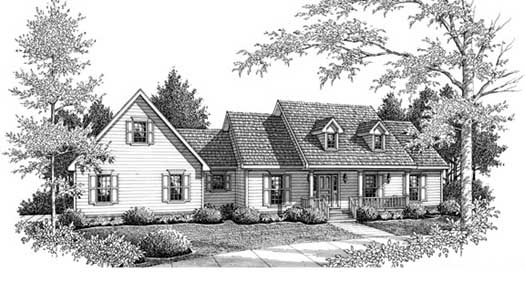 Country Style Home Design Plan: 14-167