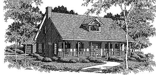 Country Style Home Design Plan: 14-172