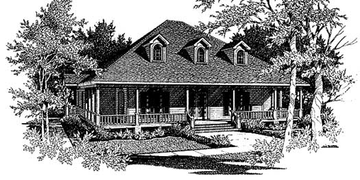 Southern Style Home Design Plan: 14-188