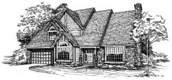 English-Country Style Home Design Plan: 15-206