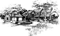 English-Country Style Home Design Plan: 15-290