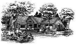 English-Country Style Home Design Plan: 15-298