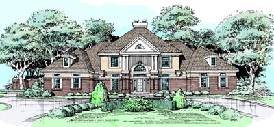 Southern-Colonial Style Floor Plans 15-302