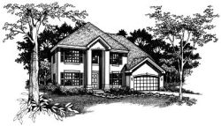 Southern-Colonial Style Home Design Plan: 15-378