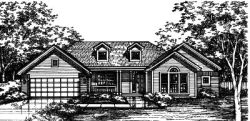 Ranch Style Home Design Plan: 15-392