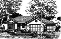 Southwest Style Home Design Plan: 15-418