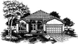 Southwest Style Home Design Plan: 15-481