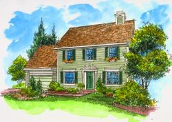Early-American Style Home Design Plan: 15-783