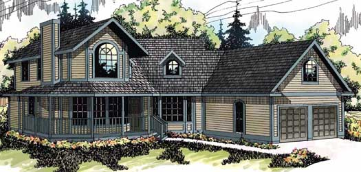 Country Style Home Design Plan: 17-104