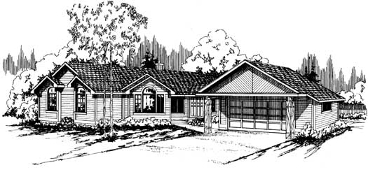Ranch Style Home Design Plan: 17-126