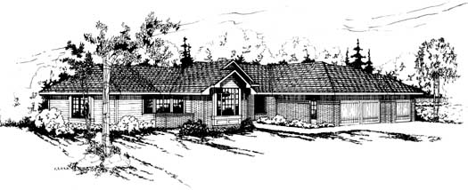 Ranch Style Home Design Plan: 17-135