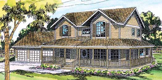 Farm Style Home Design Plan: 17-145