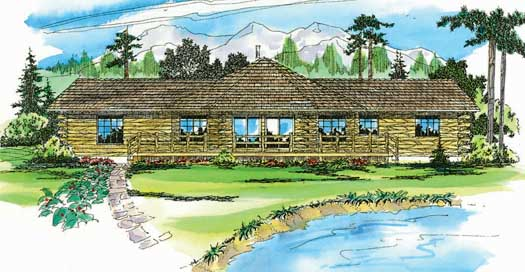 Log-cabin Style Home Design Plan: 17-148