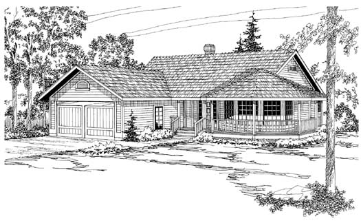 Country Style Home Design Plan: 17-162