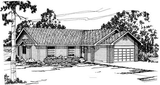 Ranch Style Home Design Plan: 17-167