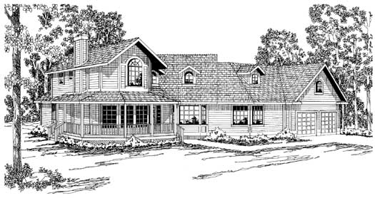 Farm Style Home Design Plan: 17-168