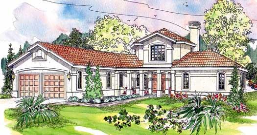 Mediterranean Style Home Design Plan: 17-169