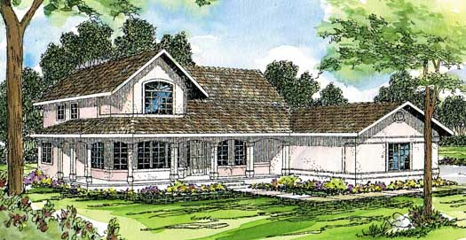 Southwest Style Home Design Plan: 17-178