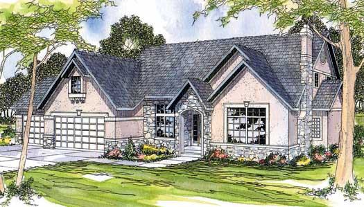 European Style Home Design Plan: 17-183