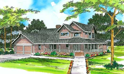 Country Style Home Design Plan: 17-187