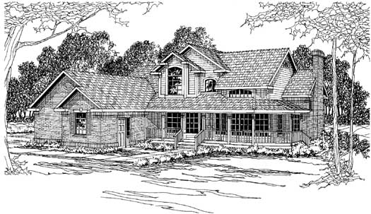 Country Style Home Design Plan: 17-206