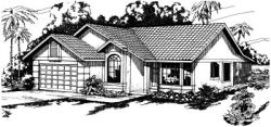 Southwest Style Home Design Plan: 17-259