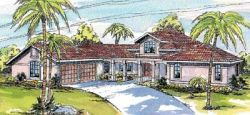 Southwest Style Home Design Plan: 17-261