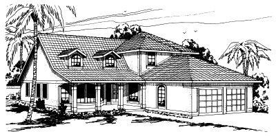 Southwest Style Home Design Plan: 17-262