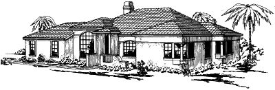 Southwest Style Home Design Plan: 17-263