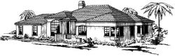 Southwest Style Home Design Plan: 17-263