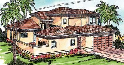 Spanish Style Home Design Plan: 17-270