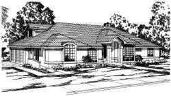 Mediterranean Style Home Design Plan: 17-273
