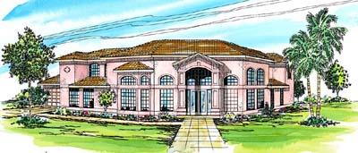 Mediterranean Style Home Design Plan: 17-275